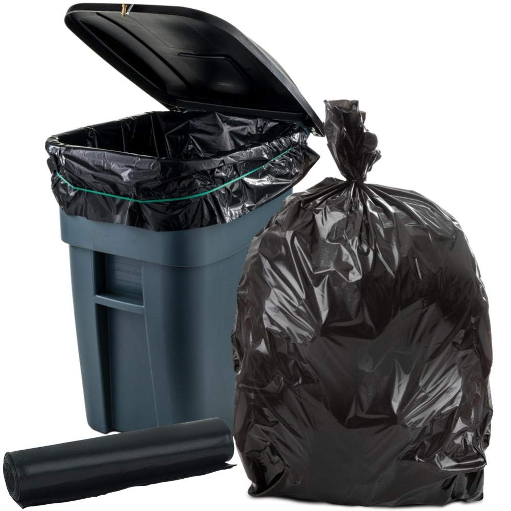 Plasticplace 65 Gallon Trash Bags │ 2.7 Mil │ Black Heavy Duty Garbage Can Liners │ Rolls │ 50'' x 48'' (100 Count) by Plasticplace