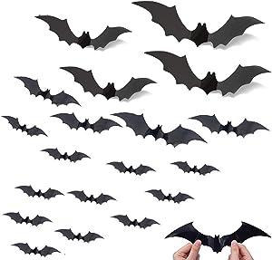Bats Halloween Decoration 3D Bats Decorations 4 Different Sizes Wall Bat Decor for Wall Decals DIY Halloween Bathroom Decor Indoor Bat Halloween Door Decor(72PCS)