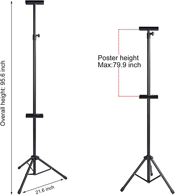 T-SIGN Double-Sided Tripod Poster Stand, Heavy Duty Sign Stand, Adjustable Floor Standing Sign, Height Up to 79.9 inches for Board Sign Holder Display