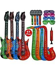 17 stuks, groot formaat, kleurrijk opblaasbaar speelgoed, bevat: 4 x opblaasbare gitaar (93 cm), 4 x opblaasbare saxofoon (70 cm), 4 x opblaasbare microfoon, 4 x shading glazen, handmatige luchtpomp.