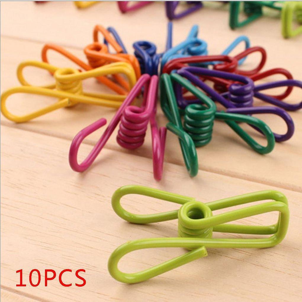 Demino 10pcs Color al Azar Abrazadera del Metal Toalla Calcetines Ropa de lavander/ía Perchas Clips Fuerte Control