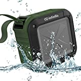 Infinilla Waterproof Bluetooth Speakers, Portable Wireless Speaker for Outdoor, Shower, Beach and Golf, 12 Hour Playtime with FM Radio, Mic, NFC and SD Card Slot - Green