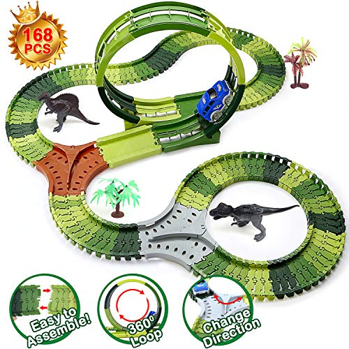 Image of the Dinosaur Toys Race Tracks for Kids, 360 Route Race Car Flexible Track Set, Children's DIY Variety Assembly Flexible Tracks, Perfect Birthday Toys for 3 4 5 6 Years Old Kids Boys and Girls(168Pcs)