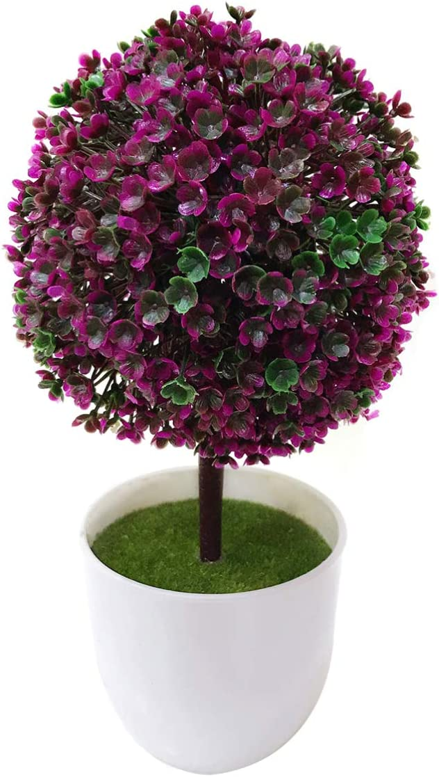 Green Garneck Artificial Potted Plant Ball Simulated Floral Ball Topiary Tree Bonsai for Home Wedding Tabletop Decor