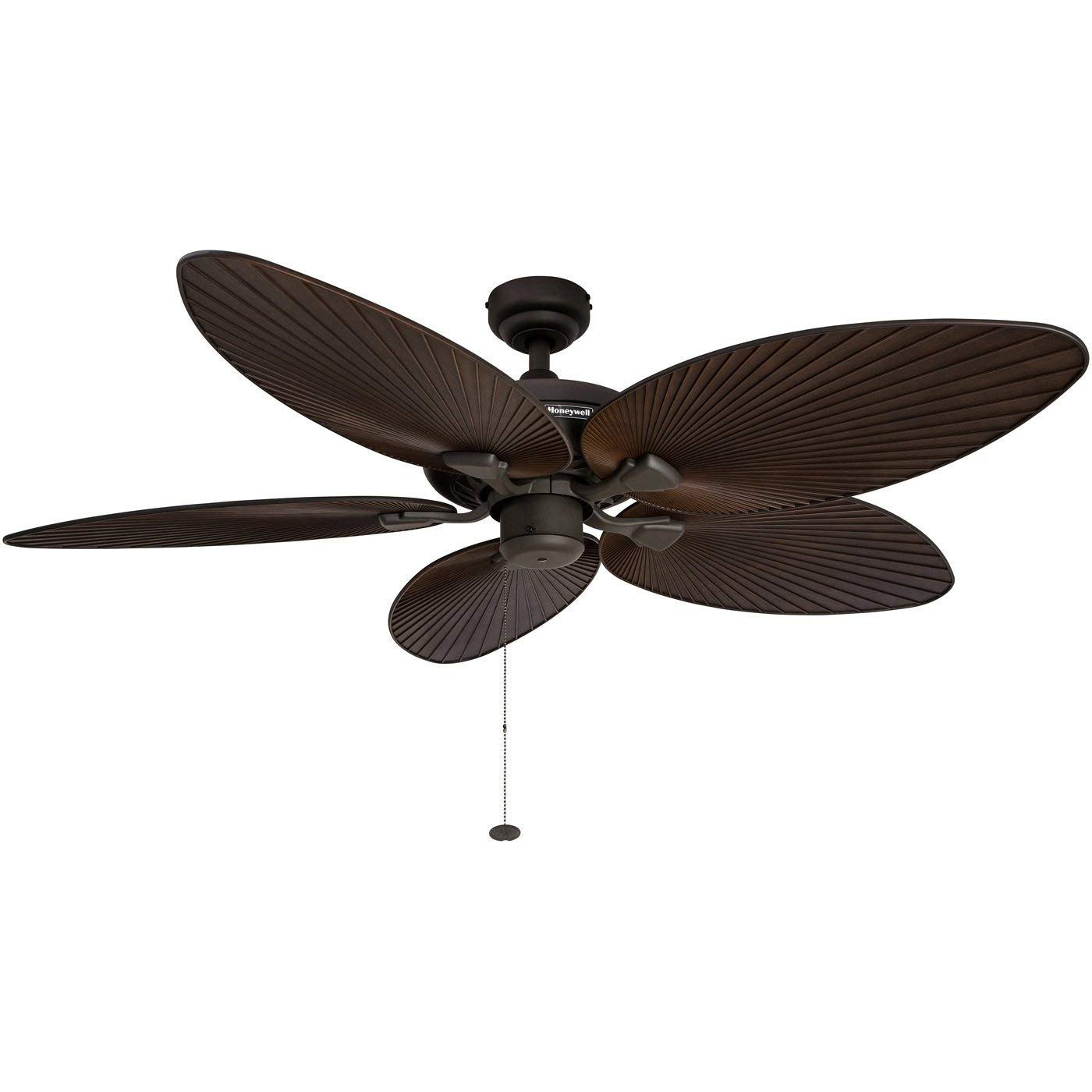 Honeywell Palm Island 52-Inch Tropical Ceiling Fan, Five Palm Leaf Blades, Indoor Outdoor, Damp Rated, Bronze Renewed