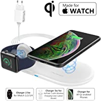 MoKo [MFi Certificado] Cargador Inalámbrico Wireless Charger Qi, 2 en 1 Base de Fast Carga Rápida Estación para Apple Watch Series 2/3/4/5, AirPods 2, iPhone 11 Pro Max/11 Pro/11/XR/Xs (QC Adaptador)