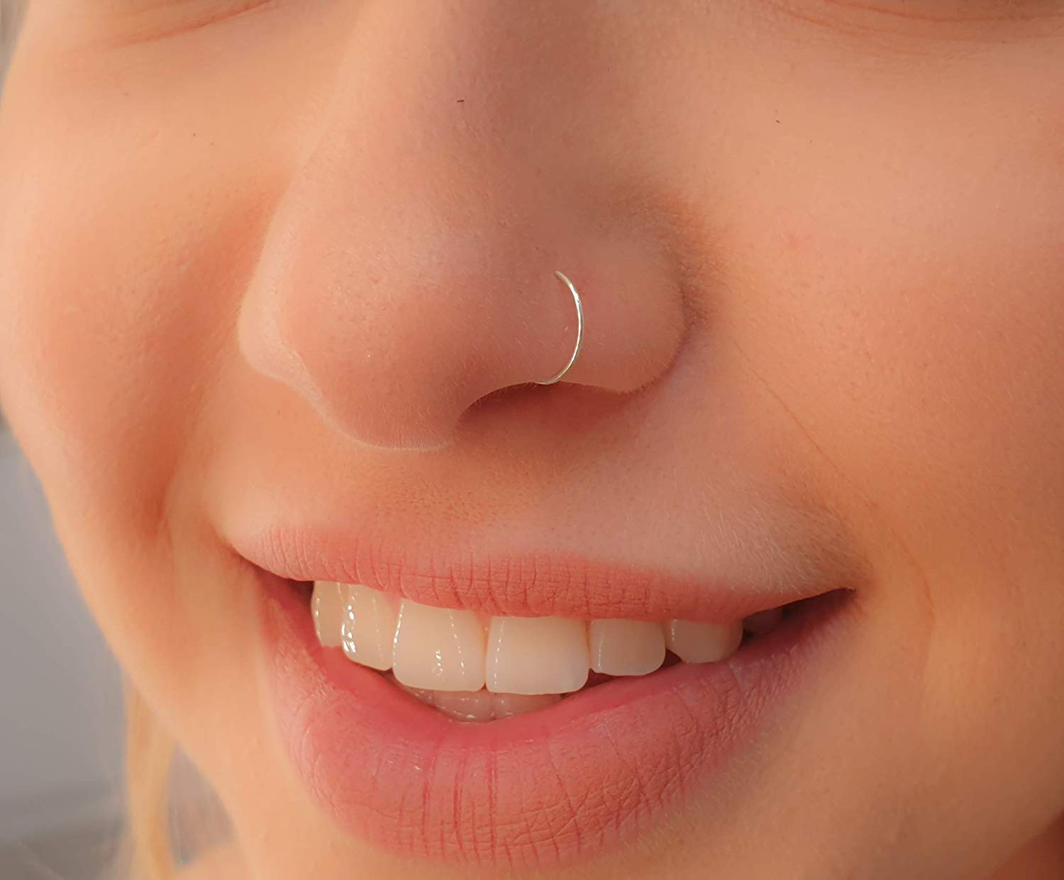 Tiny Silver Nose Ring Hoop 24 Gauge Snug Nose Hoop Thin Nose