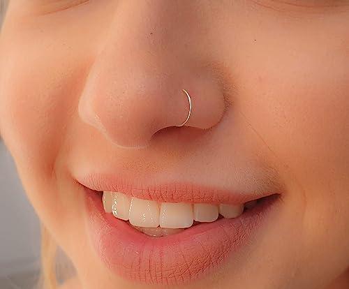 Tiny Silver Nose Ring Hoop 24 Gauge Snug Nose Hoop Thin Nose