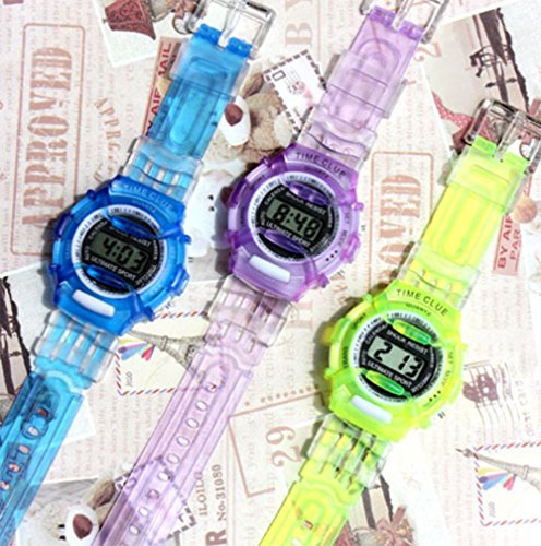 YOYOSTORE 1 Pc Mix Color Fashion Student Wrist Outdoor Watch Kids Child Boy Girl Plastic Hiking Stopwatch Outdoor Sports Electronic Digital Adjustable Silicone Strap Display Wristwatches Gift