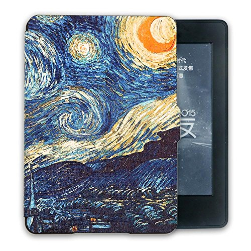 Kandouren Case Cover for Kindle Paperwhite - Van gogh Starry Night ,Light Slim Leather Cover with Autowake(Fit 6 inch Amazon Kindle Paperwhite 2013 2015 2016),blue color book