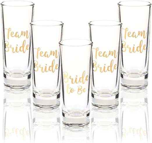 10 x plastic shot glasses bride tribe//team groom