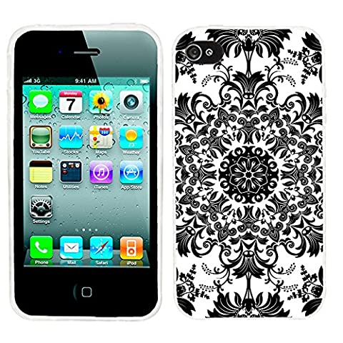 iPhone 4s Case, iphone4s case,iphone 4 case,iphone4 case, ChiChiC full Protective Stylish Case slim durable Soft TPU Cases Cover for iPhone 4 4g 4s,geometric Black white classical floral (Iphone 4 Case Artsy)