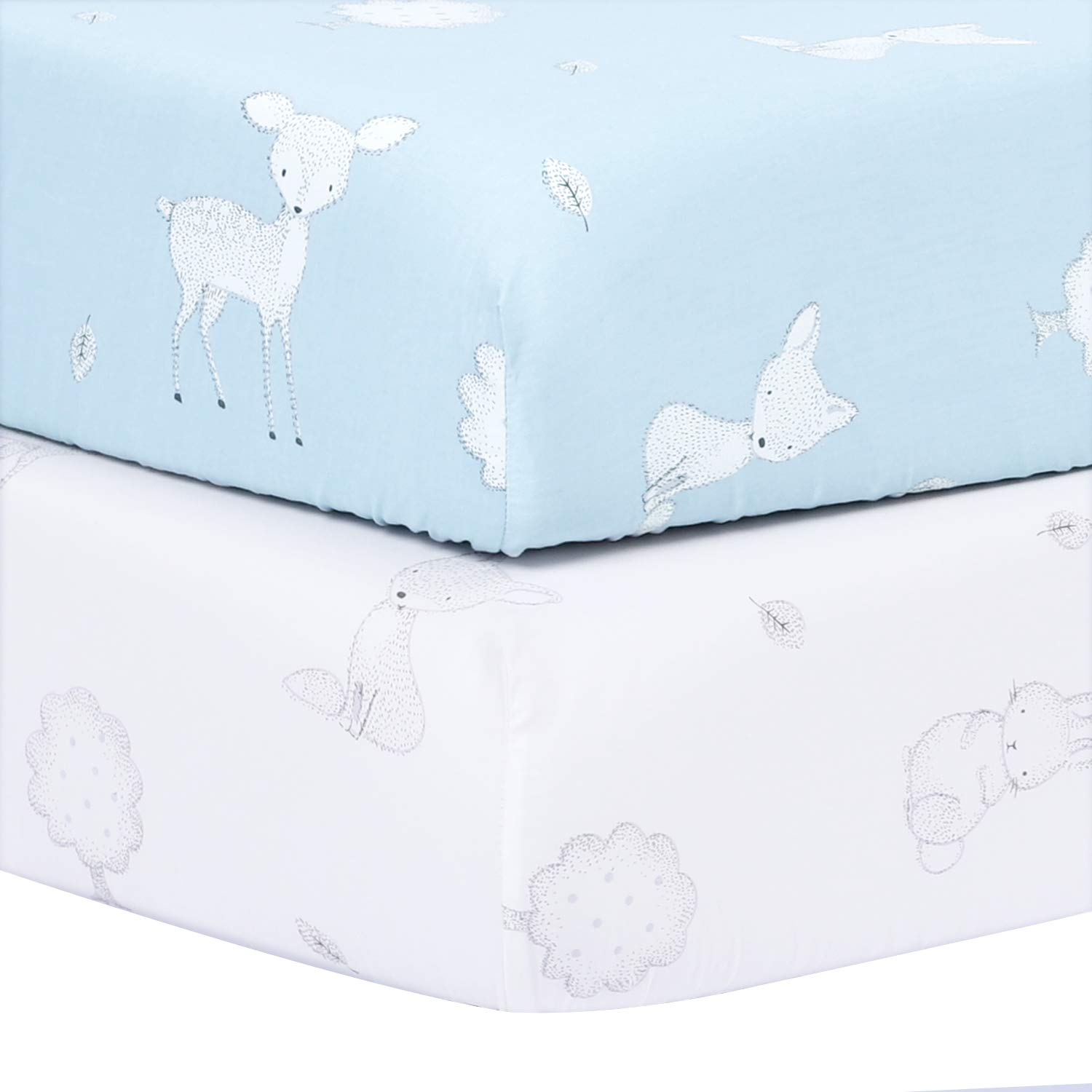 TILLYOU Bamboo Crib Sheets Set Woodland, Printed Toddler Bed Sheets for Baby Girls and Boys, Hypoallergenic Soft Breathable, 28''x52'', 2 Pack Fairy Messenger (Blue & White) by TILLYOU