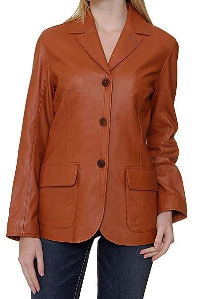 La Martina Chaqueta de Cuero Blazer para mujer, Color: Coñac, Talla: 36: Amazon.es: Ropa y accesorios