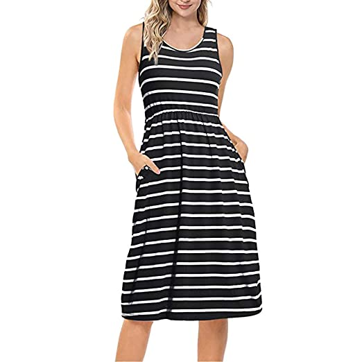 764abd45c4cb SSYUNO Women's Casual O-Neck Sleeveless Loose Striped Strapless Shoulder  Maxi Dress with Pocket Black
