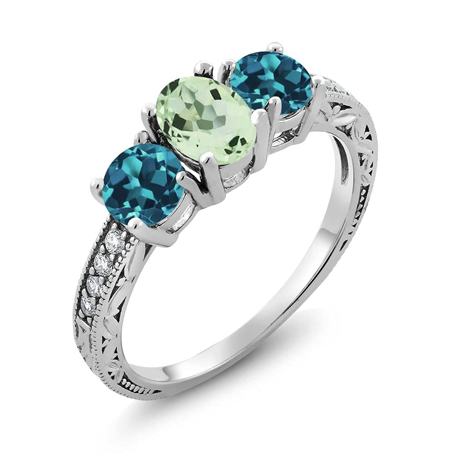 1.87 Ct Oval Green Amethyst and London Blue Topaz 925 Sterling Silver Ladies 3-Stone Ring (Available in size 5, 6, 7, 8, 9)