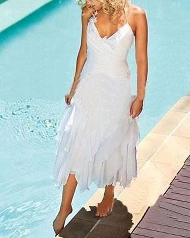 Veilace Women\'s Short Bohemian Beach Wedding Dress Halter Tea Length ...
