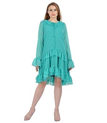 RADANYA Ruffle Kleid der Indischen Frauen langärmliges beiläufiges ...