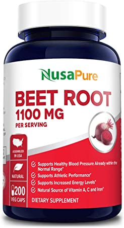 Beet Root 1100 mg 200 Veggie caps (Vegetarian, Non-GMO & Gluten-Free,Made with Organic Beet Root Powder ) - Supports and Maintains Performance*, Healthy Insulin Response & Healthy Skin Condition*