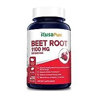 Beet Root 1100mg 200 Veggie caps (Non-GMO & Gluten Free,Made with Organic Beet Root...