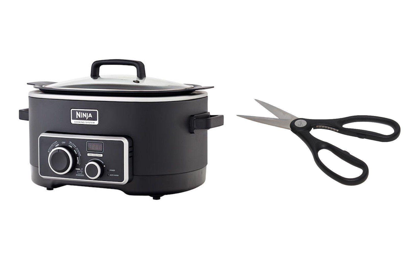 Ninja 3-in-1 Cooking System [MC750] Slow Cooker with Emeril Stainless Steel Kitchen Scissors
