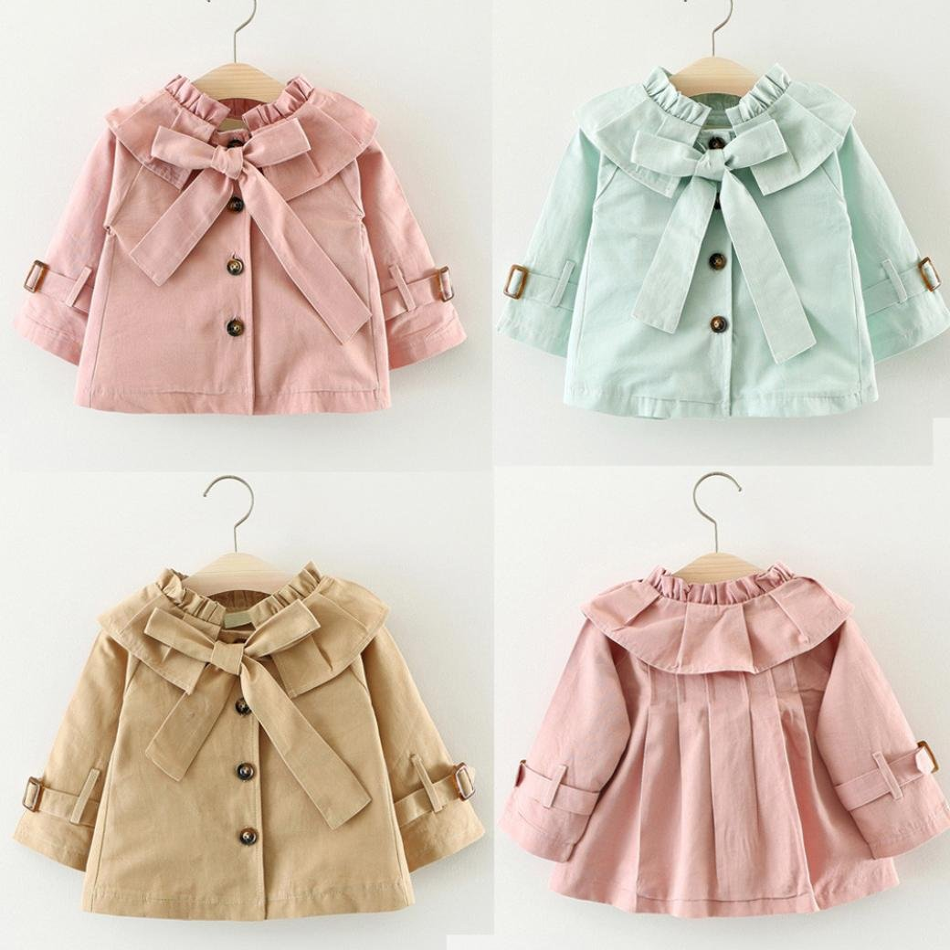 Coerni Baby Kids Girl Fashion Bowknot Warm Cotton Trench Coat