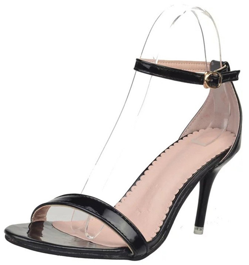 T&Mates Womens Ankle Strap Open Toe Stiletto Mid High Heel Sandals Party Wedding Dancing (7 B(M) US,Black)