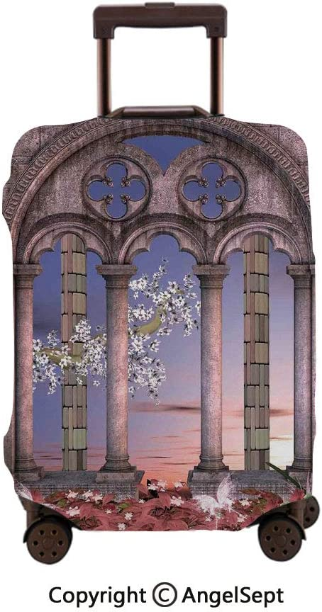 Travel Luggage Cover Spandex Suitcase,Ancient Colonnade in Secret Garden with Flowers at Sunset Enchanted Forest Grey Blue Lilac Red,30x40inches,Protector Carry On Covers with Zipper