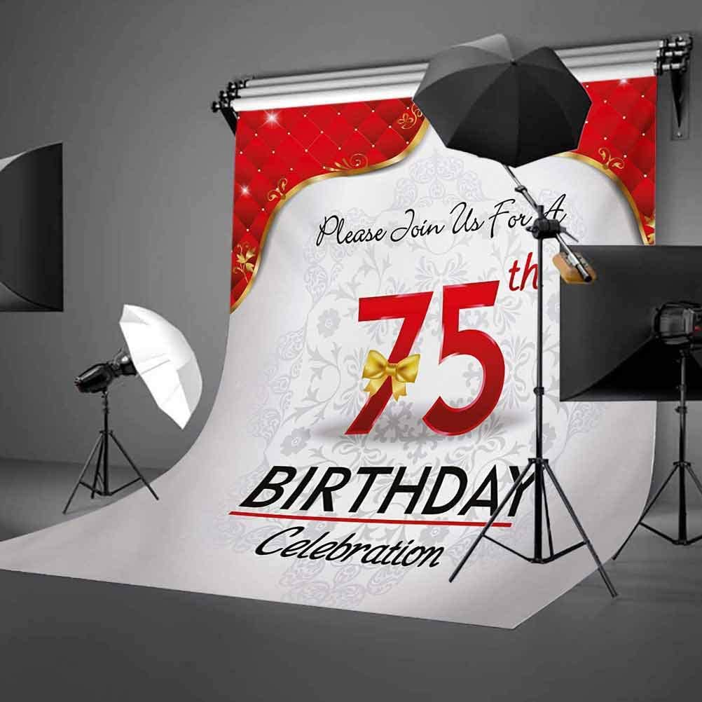75th Birthday 10x12 FT Backdrop Photographers,Royal Classical Birthday Party Floral Invitation Ceremony Please Join Us Background for Photography Kids Adult Photo Booth Video Shoot Vinyl Studio Props