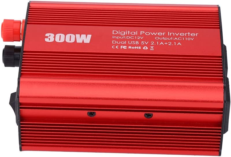 Car Power Inverter,300W DC 12V to AC 110V Portable Power Inverter Converter Dual USB 2.1A 5V Charger Adapter US-Red