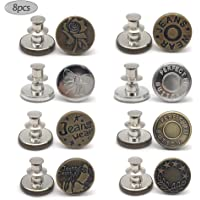 8 PCS Instant Buttons Jean Buttons Removable Button No Sew Buttons for Pants Jeans Sewing Crafts DIY Clothes (17mm…