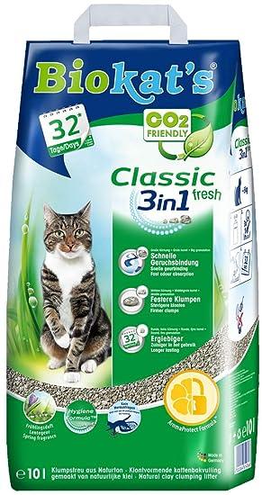 Biokats arena para gatos Classic Fresh 3 en 1 con fragancia primaveral , Arena para gatos aglutinante ...