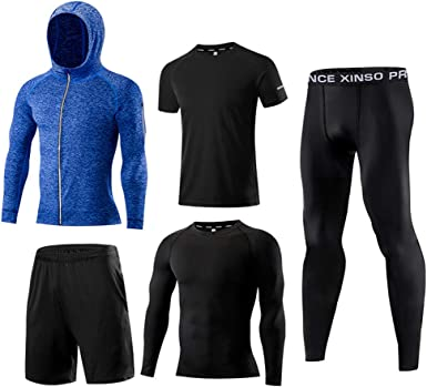 5 in 1 Mens Tracksuit Elastic Compression T-shirt Sports Suit Exercise