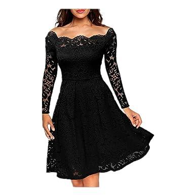 Janlyy Womens Vintage Lace Floral Long Sleeve Dresses Bardot Neck Elegant 50s 60s Retro Style Rockabilly