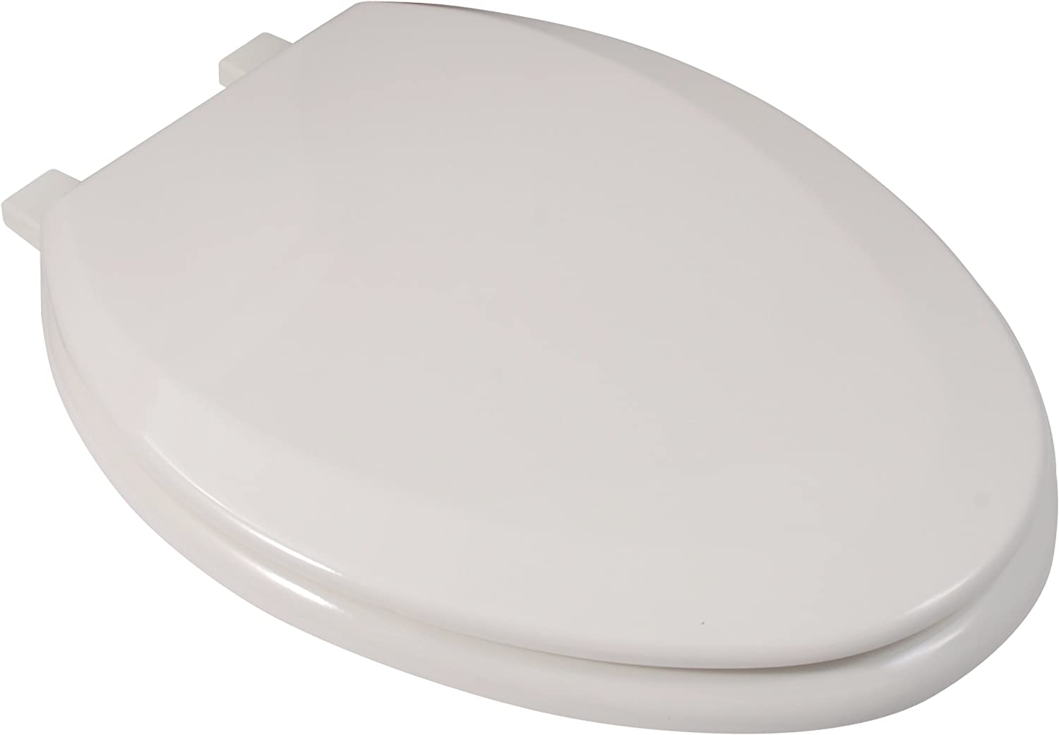 LDR Industries 050 2044BS Exquisite Elongated Beveled Wood Toilet Seat with Plastic Hinge Biscuit