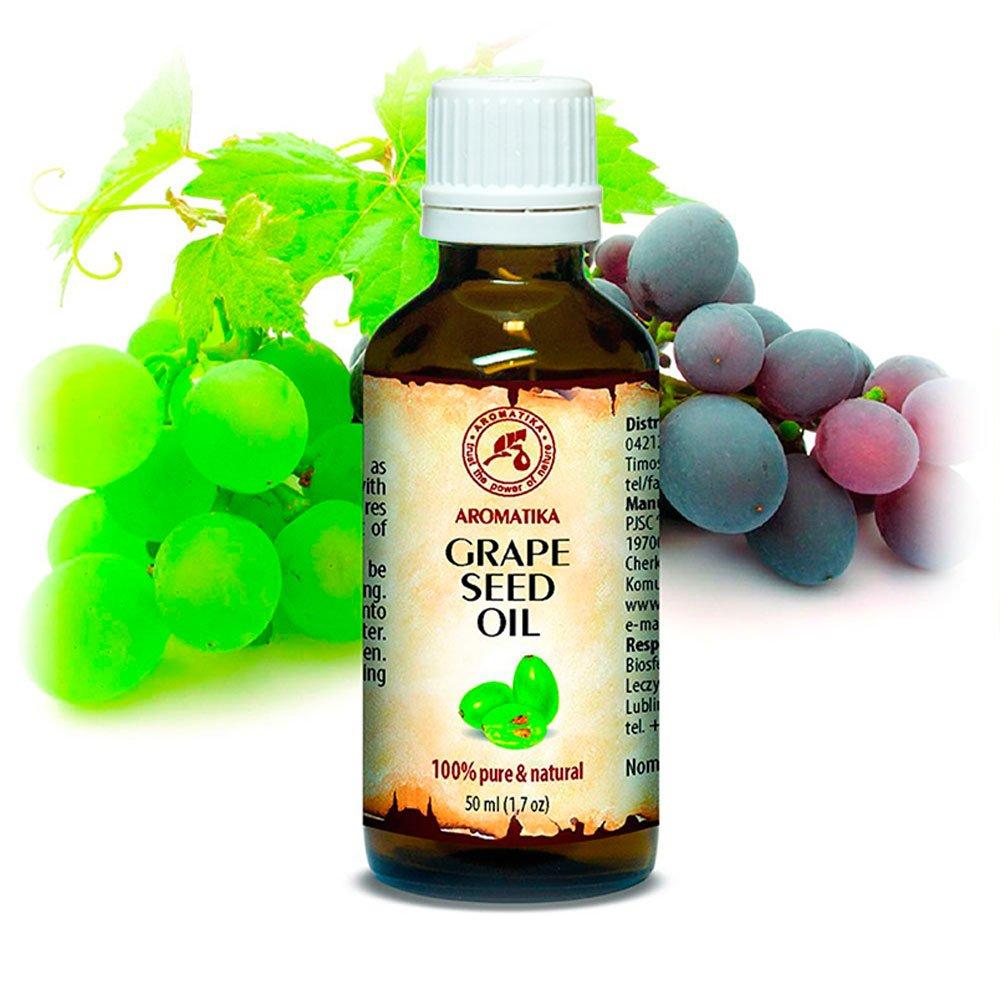 Olio di Semi D'Uva Spremuto a Freddo - 100% Naturale e Puro 50ml - Vitis Vinifera - Italia - Bottiglia di Vetro - Olio di Base - Olio per Il Corpo - Cura Intensiva per Viso - Corpo - Capelli - Pelle - uso Puro - Ottimo con Olio Essenziale - per Bellezza -