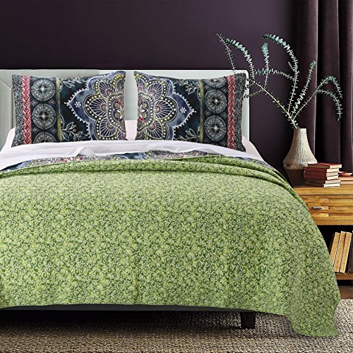 OVS 3 Piece Beautiful Bohemian Pink Blue Green White Full Queen Quilt Set, Medallion Floral Themed Reversible Bedding Stylish Boho Indigo Vibrant Geometric Modern Mandala Batik Tribal Border, Cotton