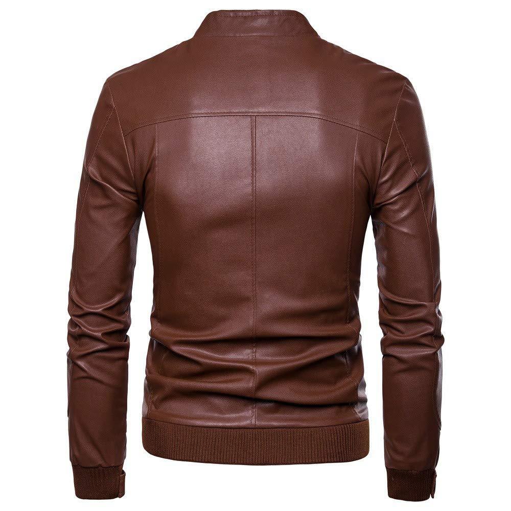 WUYIMC Men's Leisure Windbreaker Motor Jacket Zipper Thermal Leather Warm Jackets Coats Top by WUYIMC (Image #3)