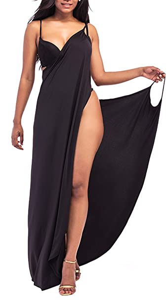 827f284bd3b Anatoky Women s Plus Size Spaghetti Strap Backless Sexy Long Beach Maxi  Dress Bikini Cover Up Black