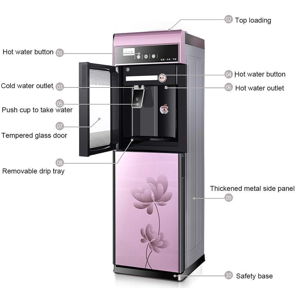 3 Temperature Settings Hot /& Cold Water Dispensers With Large Capacity Storage Cabinet LENG Hot Freestanding Top Loading Water Cooler Water Dispenser Cold /& Room Water