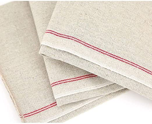 Vollum Bakers Couche Proofing Cloth 100/% Pure French Flax Linen with Red Stripe 1 Roll 23.5 Inch x 131 Feet