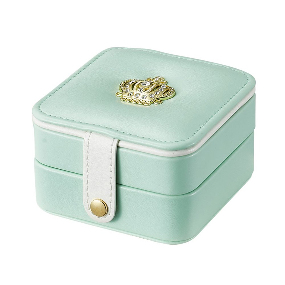 iSuperb Travel Jewelry Box PU Leather Golden Crown Designed Display Storage Case Jewelry Gift Box with Mirror for Rings Earrings Necklace Bracelet (Green)