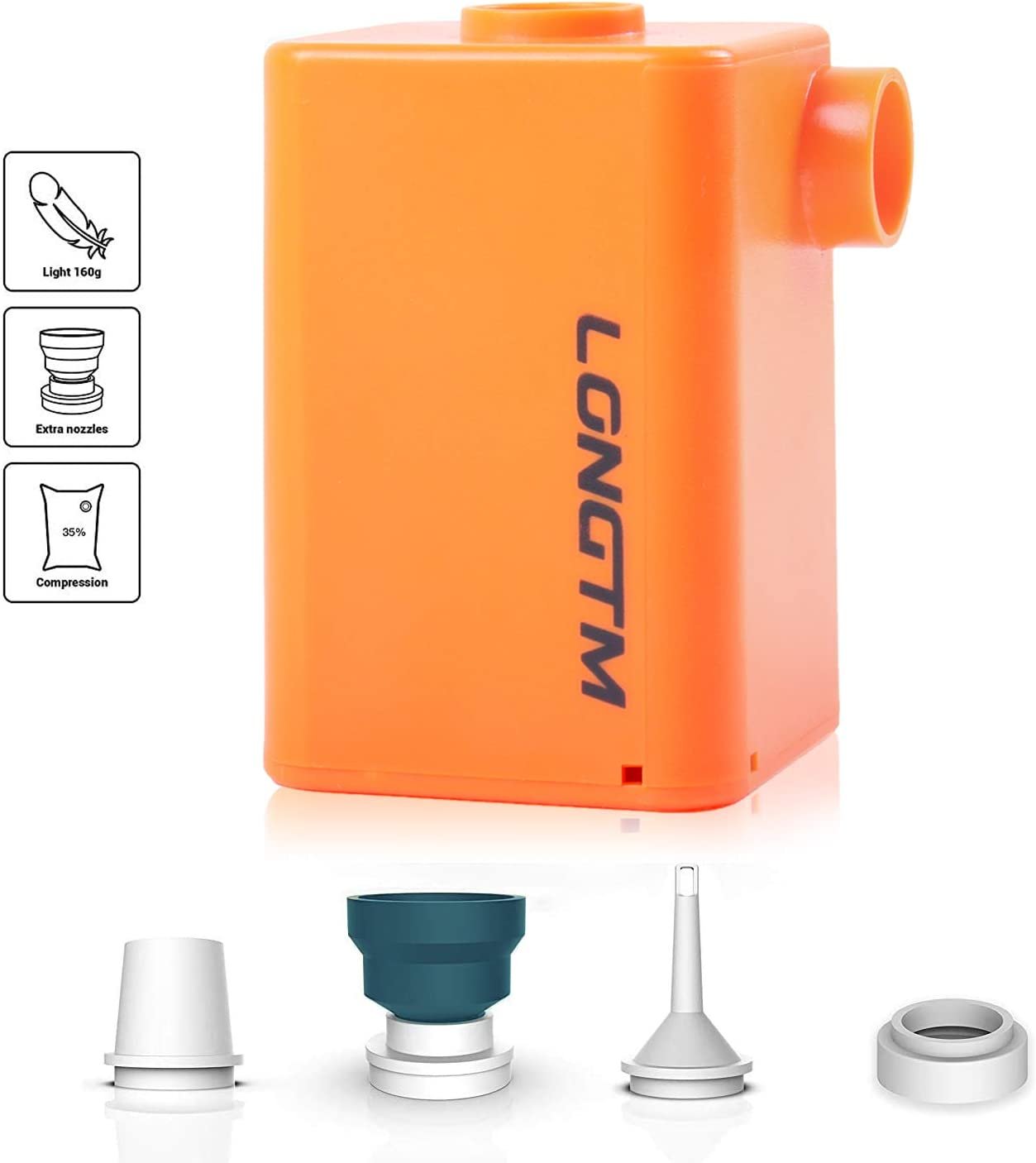 LONGTM Small Air Pump Cordless, Portable Rechargeable Battery Operated Pump for Inflatables, Air Mattress, Pool Floats, Paddle Board, Inflatable Boat Raft Toys and More (Orange)