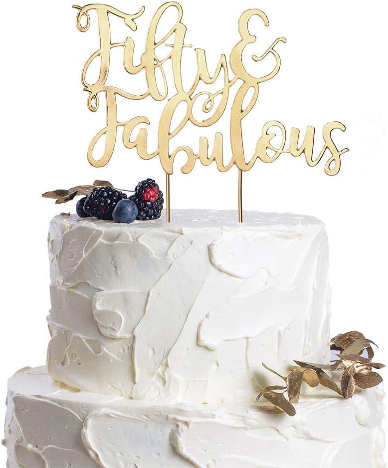 Strange Amazon Com Fifty Fabulous Gold Metal Cake Topper 50Th Birthday Funny Birthday Cards Online Benoljebrpdamsfinfo