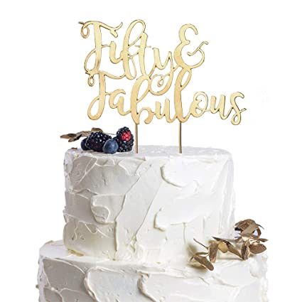 Fifty Fabulous Gold Metal Cake Topper 50th Birthday 50 Years Old Wedding Anniversary Parents Gift
