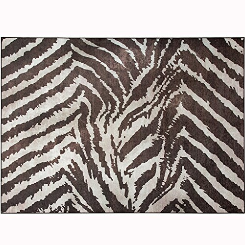 LOFAMI Modern European Fashion Zebra Stripes Pattern Home Living Room Polyester Carpet, Creative Soft Short Suede Mat (Size : 120170cm)