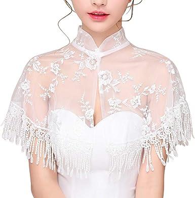 White Lace Bolero with Twin Ruffle Collar Wrap