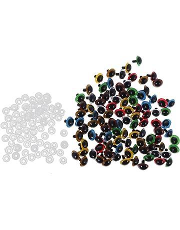 MagiDeal 100 Piezas Ojos Plástico de Color Mezclado Seguridad con Arandelas para DIY Muñeca