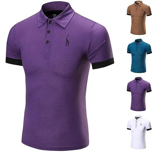 Cinnamou Camisetas Hombre, Polos de Hombres Deportivas Puños de venado de los Hombres Polo Camisa de Rayas,Bordado,Cuello de…