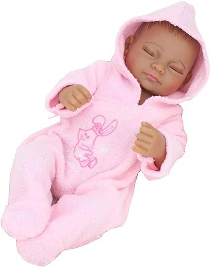 Amazon Com 11 Inch Mini Black Cute Alive Newborn Sleeping Baby Dolls Silicone Vinyl Full Body African American Washable For Girl Toys Games